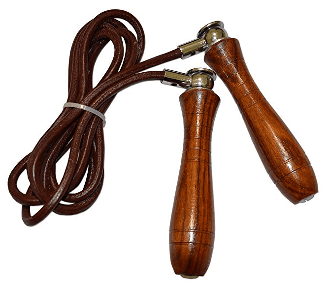 weighted leather jump rope with wood handles
