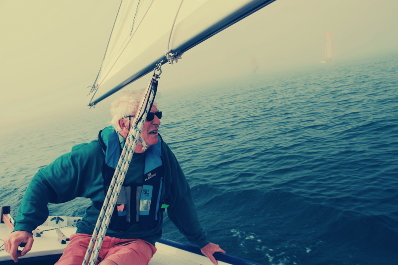 older man sailing